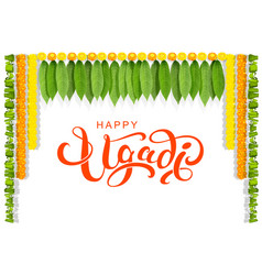happy ugadi floral leaf garland text greeting card vector image