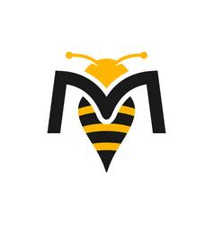 Honey bee design letter m vector