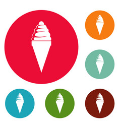 ice cream icons circle set vector image