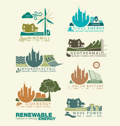 Icons and infographics of renewable energy vector
