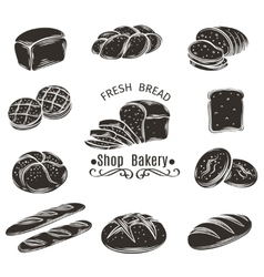 Icons bread and bakery vector