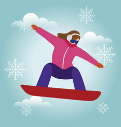 Isometric isolated woman snowboarder urban vector