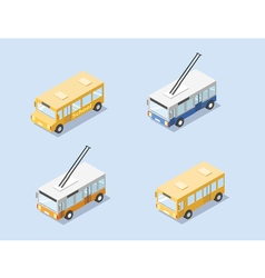 Isometric set of public city transport bus vector