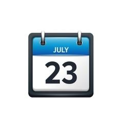 July 23 calendar icon flat vector