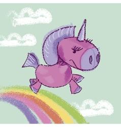 kiddy unicorn in the sky on rainbow vector image