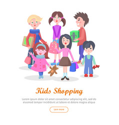 Kids shopping conceptual flat web banner vector