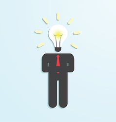 Light bulb head businessman vector image
