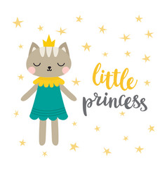 Little princess funny postcard for girl vector
