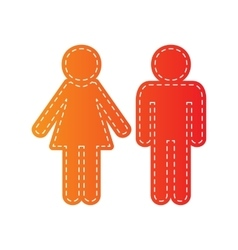 Male and female sign Orange applique isolated vector image