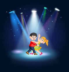 man and women tango dancing at the stage vector image
