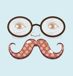 Man face with glasses and mustache expression vector