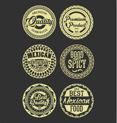 mexican design retro vintage labels black and vector image