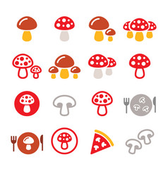 mushroom color icon set - food nature vector image