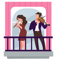 musicians playing violins on balcony concert vector image
