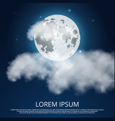 night moon clouds and stars vector image