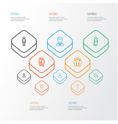 People outline icons set collection of head team vector