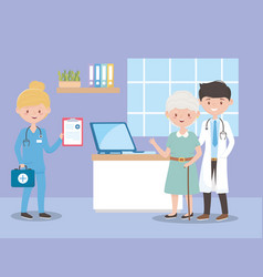 Physician nurse and grandma with medical report vector