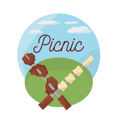 Picnic grilled meal delicious vector