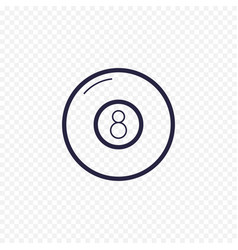 pool eight ball line icon billiard game thin vector image