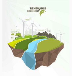 Renewable energy infographics with elements the vector