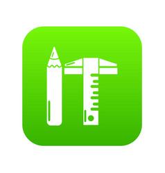 ruler pencil icon green vector image