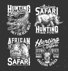 Safari hunting tshirt prints sketch set vector
