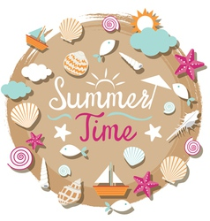 Sea Shell and Summer Objects Icons Heading vector image