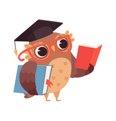 Self education owl reading books isolated smart vector