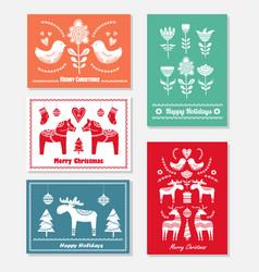 set christmas hand drawn greeting cards vector image