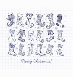 set doodle blue pen sketch christmas gift socks vector image