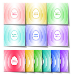 Set of easter cards of different colors with a vector
