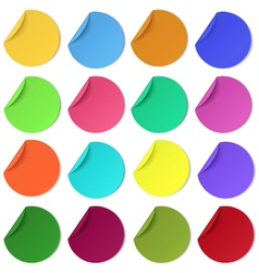 Set of glaring colour round paper stickers vector image