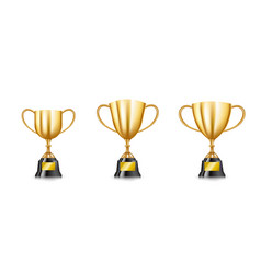 set of golden trophy cups collection isolated on vector image