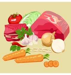Set of meat and vegetables vector image
