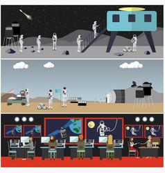 Set space exploration concept posters vector