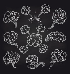 Sketch of clouds on blackboard vector