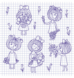 Sketch of girl and flowers vector