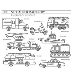 Specialized machines emergency vehicles linear vector