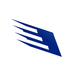 speedy wing steel blue technology symbol logo vector image