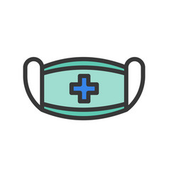 Surgical mask healthcare filled outline icon set vector