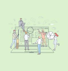 Teamwork business partnership digital marketing vector