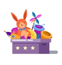 Toy box or chest with rabbit doll and rocket vector