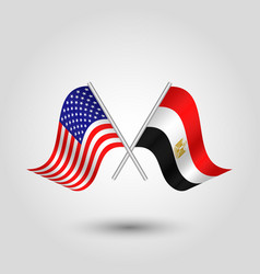 Two crossed american and egyptian flags vector