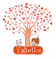 Valentine tree with hearts vector