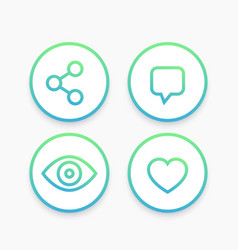 View share like comment line icons in circles vector