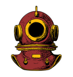 vintage diver helmet in engraving style isolated vector image