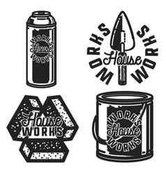 Vintage house works emblems vector
