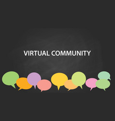 Virtual community white text with vector