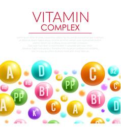 Vitamin complex poster mineral bubble pills vector
