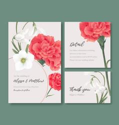Winter bloom wedding card design with peony vector